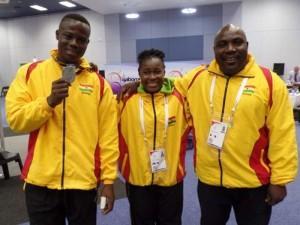 From left to right- Christian Amoah, Juliana Arkoh and Team coach Albert Abotsi