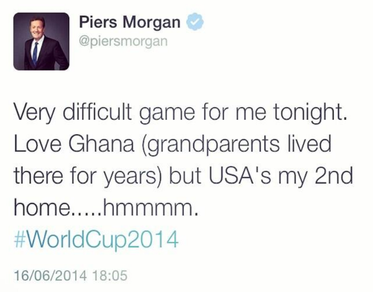 Piers Morgan Rooting For Ghana