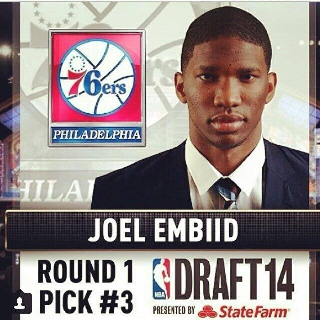 Joel Embiid selected by Philadelphia 76ers with No. 3 pick in 2014 NBA Draft