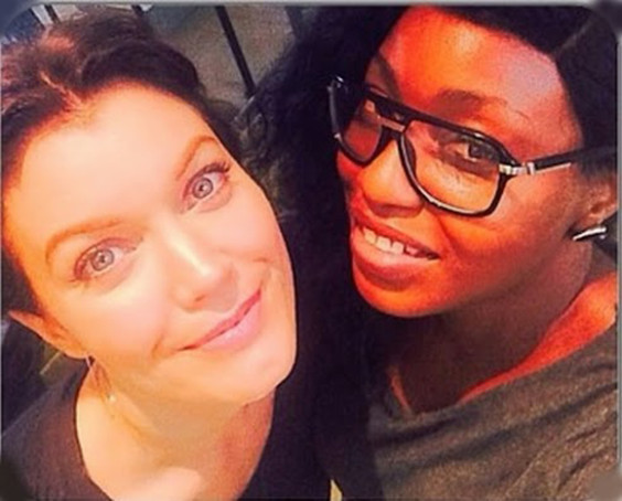 Rita Dominic seen with  Bellamy Young &  Jeff Perry of Scandal