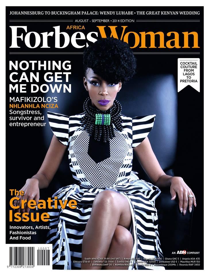 Mafikizolo star Nhlanhla Nciza on the cover of Forbes Woman Africa