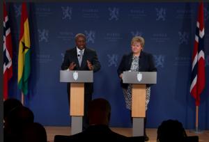 President John Mahama and Norwegian Prime Minister Erna Solberg