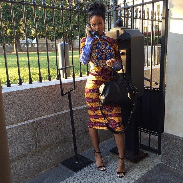 Rihanna Rocks Ankara Outfit to the White House