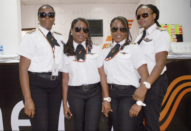 All female crew with Nigerian Twins, Senior First Officers Hassana and Huseina Edili-Ogaji