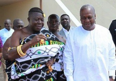 President John Mahama and Asantehene Otumfuo Osei Tutu II dancing