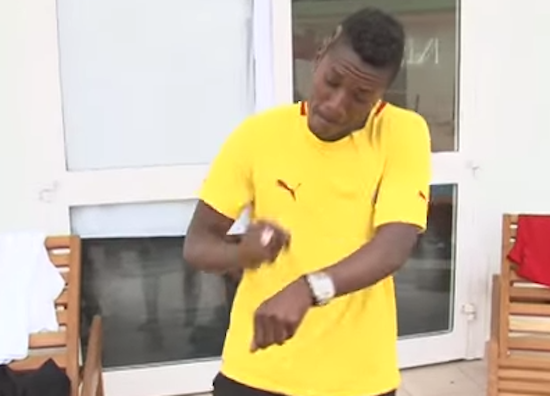 Ghana striker Asamoah Gyan in exciting traditional Ghanaian dance