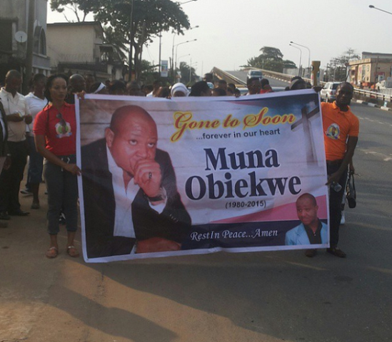 Candle Light Procession For Actor Muna Obiekwe.