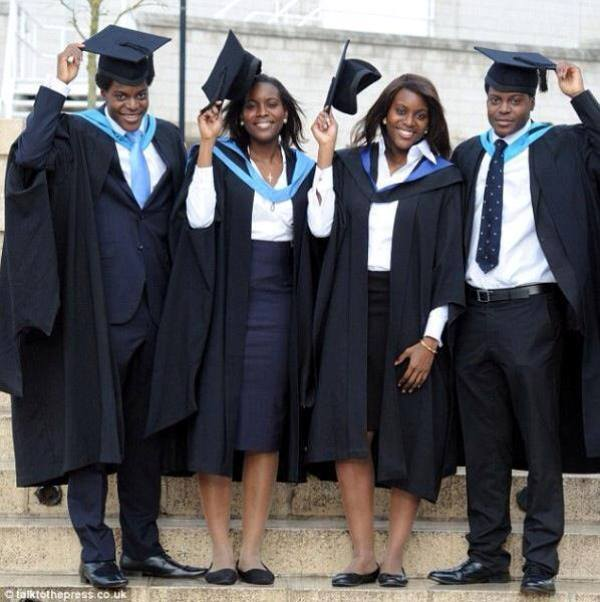 Quads all graduate with Masters degrees from same university