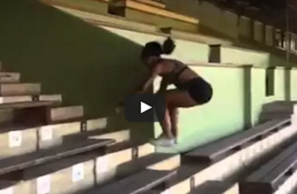 Ezinne Okparaebo Jumps Stairs 6 At A Time…
