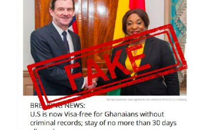 U.S. Embassy In Ghana Debunks Fake Stories About 'Ghanaians Spending 30 Days In USA Without A Visa'