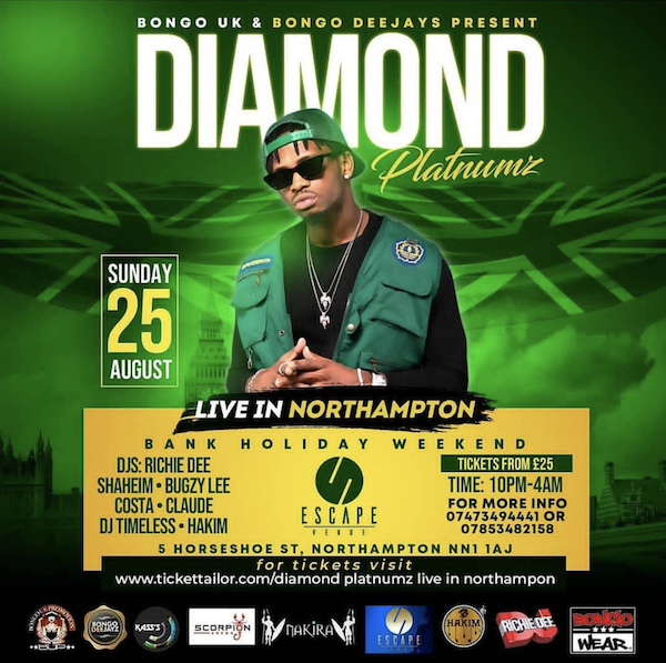 Diamond Platnumz SIMBA in NorthAmpton