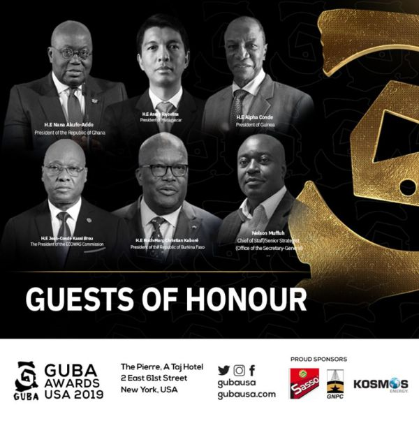GUBA Awards USA, Five African Heads of States will be gracing the event