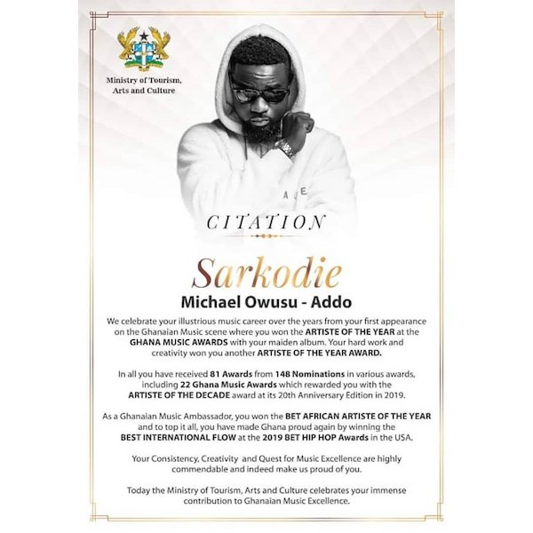 Sarkodie -Ministry Of Tourism, Arts & Culture