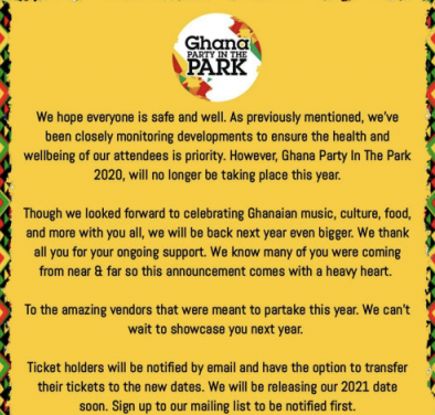 2020 Ghana Party In The Park UK Cancelled