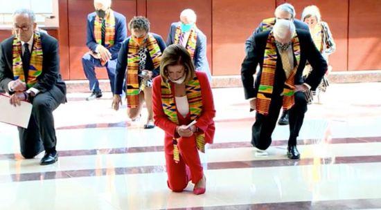 Democrats Kneeling Wearing Kente Fabric