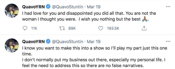 Quavo addresses split from Saweetie